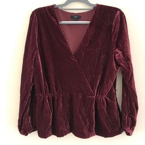 J. Crew Velvet Red Blouse